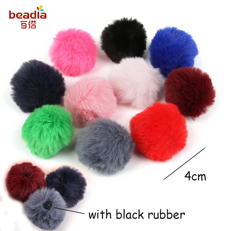 6PCS 4CM Round Imitation Rabbit Fur Ball Handmade Pom Pom Charm DIY Jewelry women Pendant Earings Accessories Making Keychain