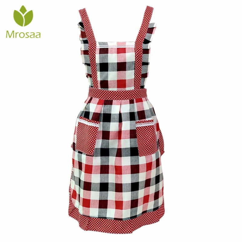 Women Lady Kitchen Apron Sleeveless Dress Restaurant Home Kitchen For Pocket Cooking Funny Cotton Apron Bib Dining Room Barbecue