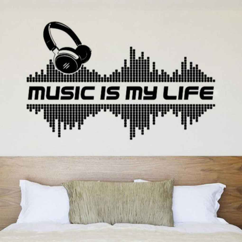 Music Headphones Wall Stickers Decal Living Room Home Removable Waterproof PVC Wall Stickers Safety