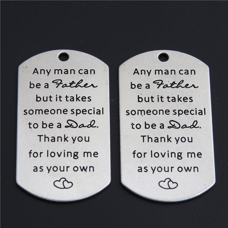 2pcs Thanksgiving Day Gift Any Man Can Be A Father... Charms Pendant For Necklace Key Chains Gift Father's Days Jewelry A2991