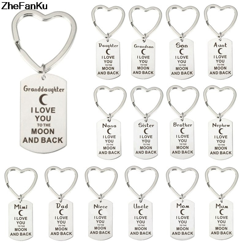 Family Love Keyring Heart Mom Grandma Mother Sister Sis Pendant Keychain Jewelry Charm Key Rings Chains Keyfob Hot