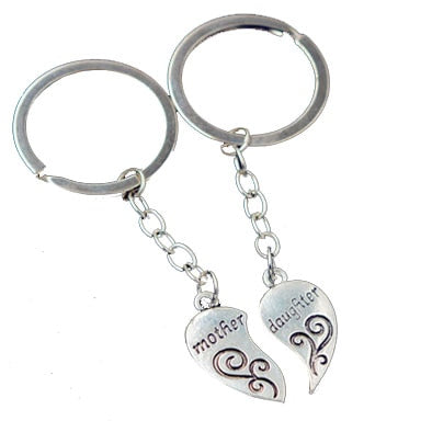 2018 Silver Mother Daughter Broken Heart Two Pieces Charm Pendant Keyring Keyfob Keychain Key Ring Women Jewelry Gifts