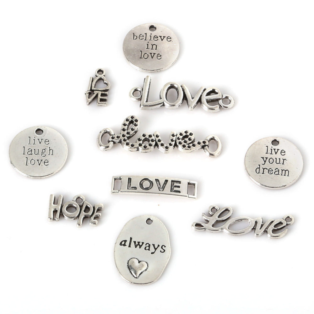 Beadia 65Pcs 10 Mixed Oval Round Plated Silver Pendant Always/Live Laugh Love/Believe In Love/Live Your Dream/Hope/LOVE