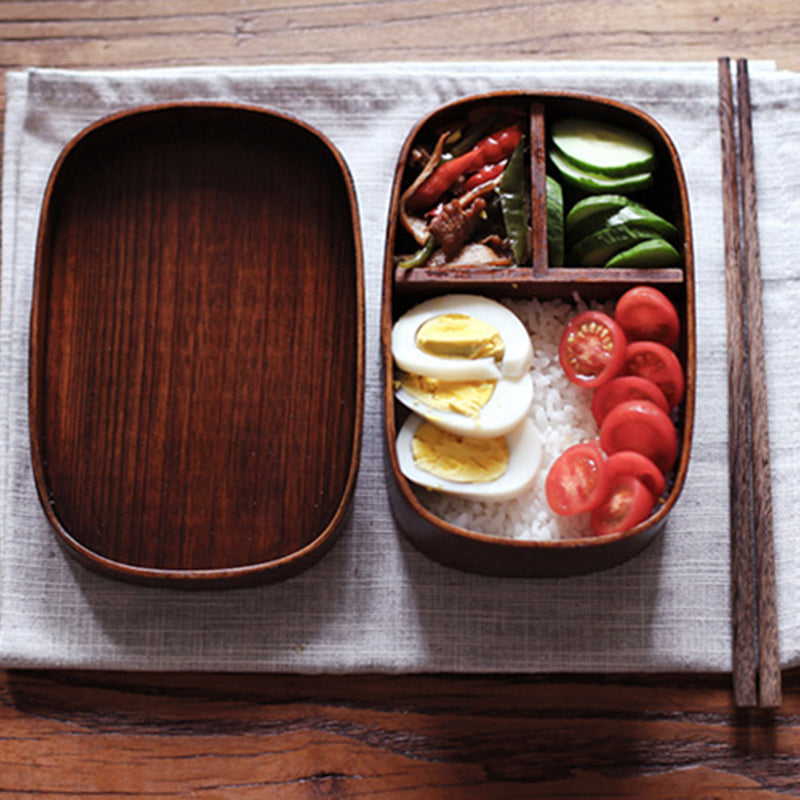 Japanese Style Bento Boxes 1 Layer 3 Grids Wood Lunch Box Portable Picnic Kids Students Food Container Kitchen Accessories
