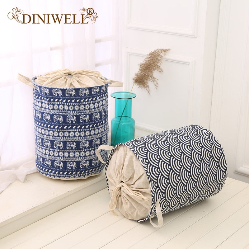 DINIWELL Foldable Laundry Hamper Closet Cotton Linen Storage Basket Bag With Closing Top Organizer For Baby Toys Bathroom