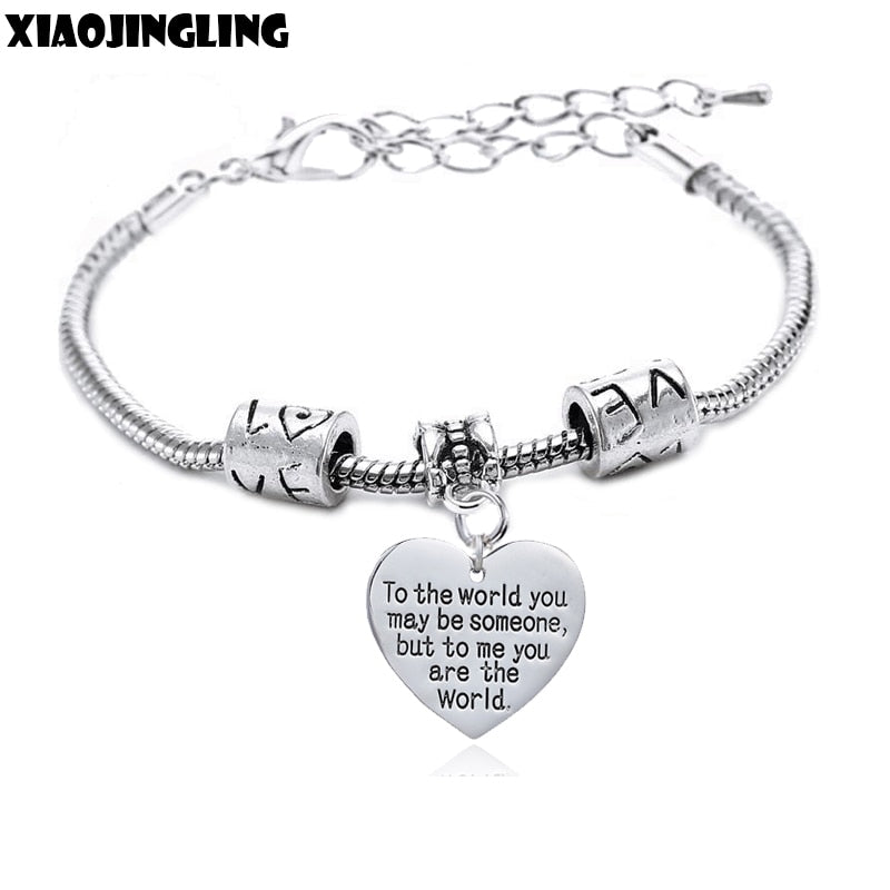 XIAOJINGLING Bangles & Bracelet To the world you may be someone but to me you are the world Charm Love Heart Bracelet Jewelry