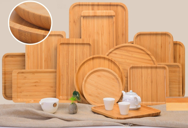 Bamboo Hotel Simple Tray Restaurant Bamboo Wooden Plate Fruit Pan Domestic Tea Pan Rectangular Creative Solid Wood Plate