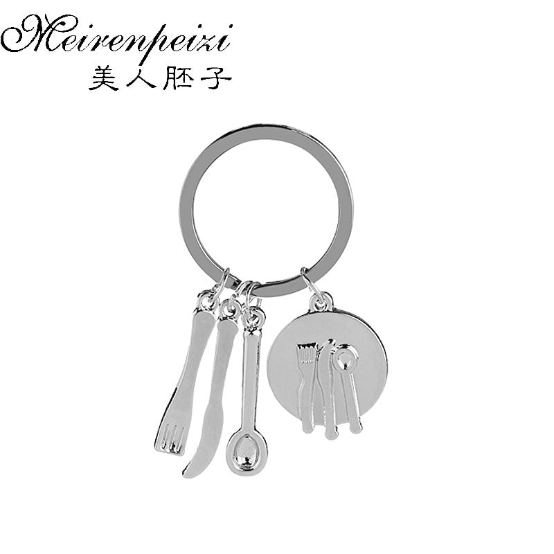 Foodie Keychains Friendship Key Ring Fork Knife Spoon Cook Key Chain Utensil Keychains Gifts for Bakers Mother Nanny
