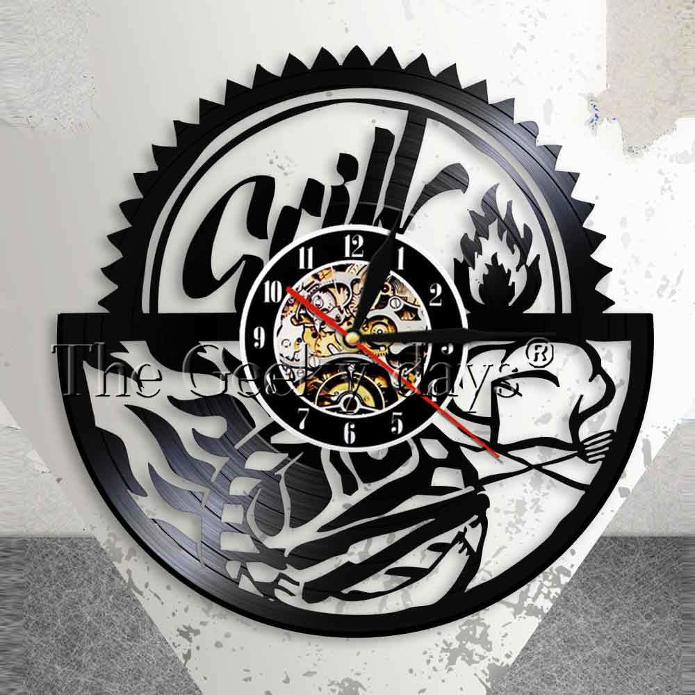 Gril Barbecue Wall Art Wall Clock Family Reunion BBQ Party Wall Decor Vintage Vinyl Record Wall Clock Foodie Housewarming Gift