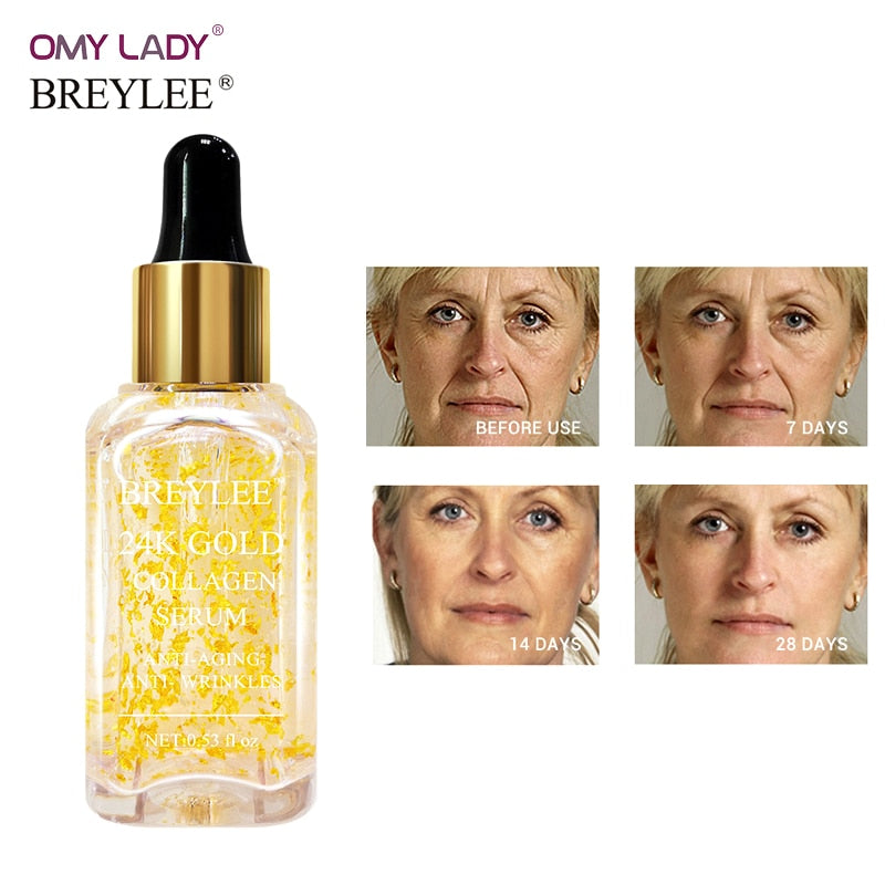 BREYLEE 24k Gold Serum Collagen Essence Anti-aging Anti-wrinkles Face Skin Care Lift Firming Whitening 100% Natural Ingredients