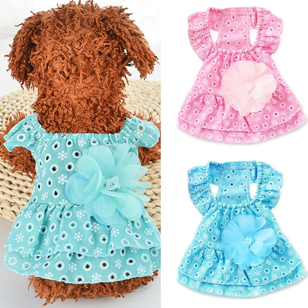 Cute Casual Puppy Dog Cat Dot Hollow Out Princess Dress 3D Flower Applique Skirt Pet Apparel Jacket Costumes adorable