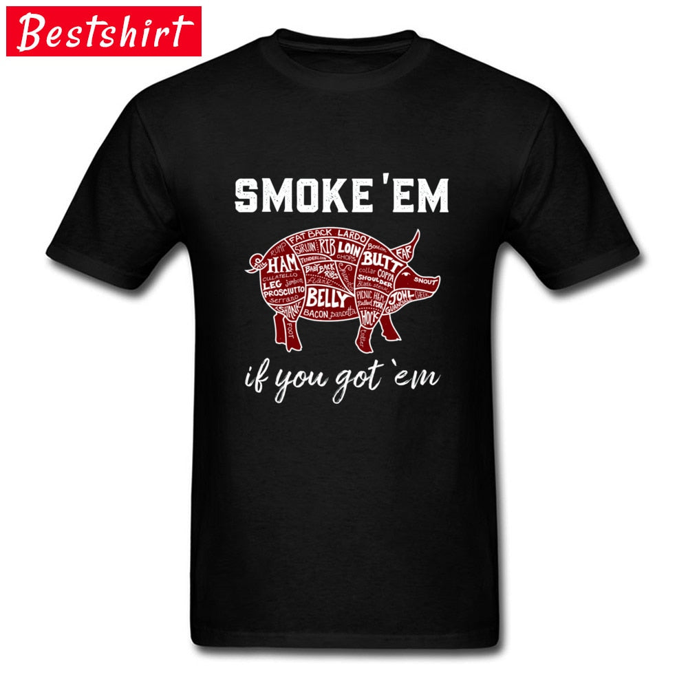 Smoke BBQ Pig Tshirts Geek Summer/Autumn Top T-shirts Normal Tops Shirts For Men Fashion Sweatshirt Patchwork Letter Black