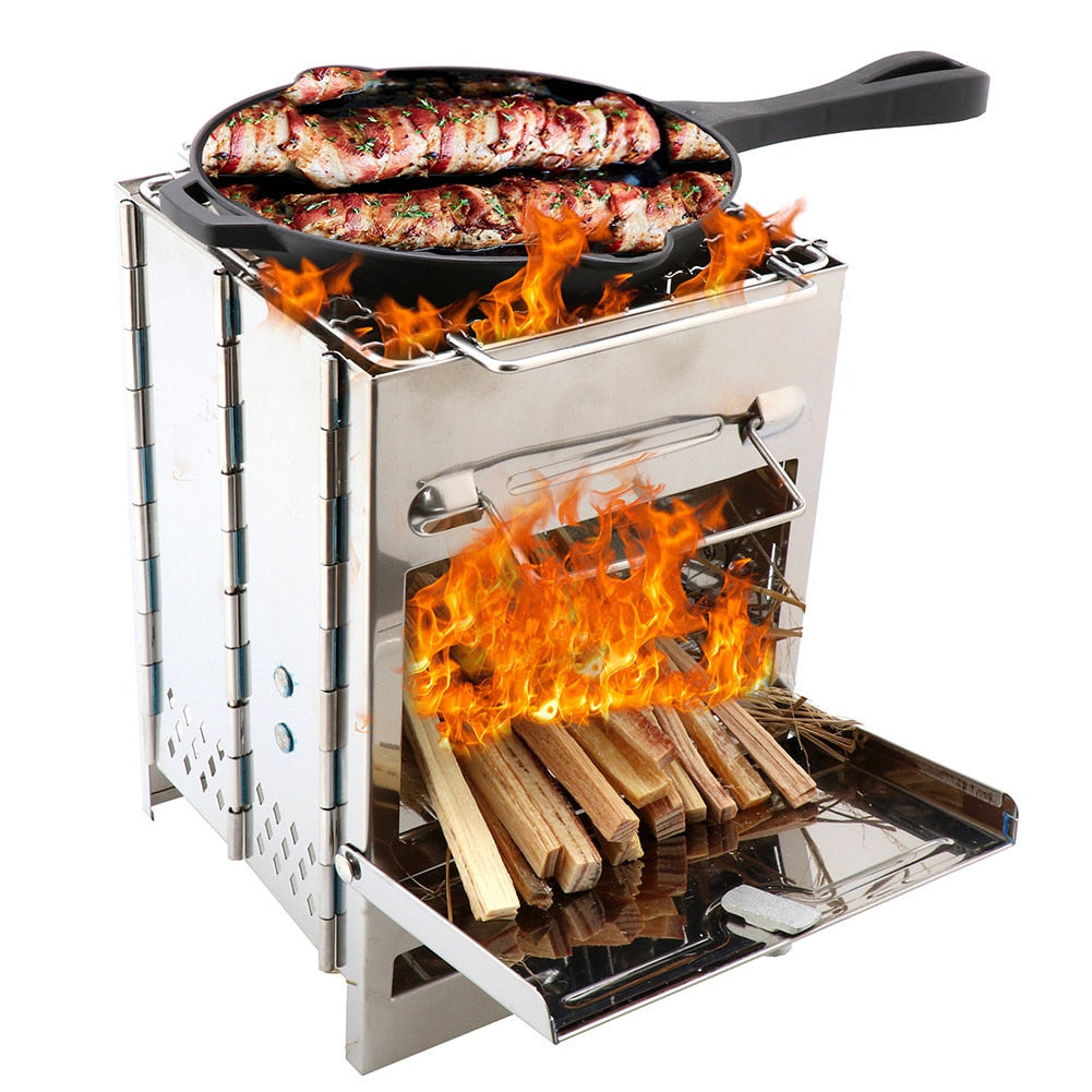 Outdoor Barbecue Grill Stainless Steel Folding Barbecue Stove Portable Mini Camping Grill Wood Burning Cooking Picnic Tools