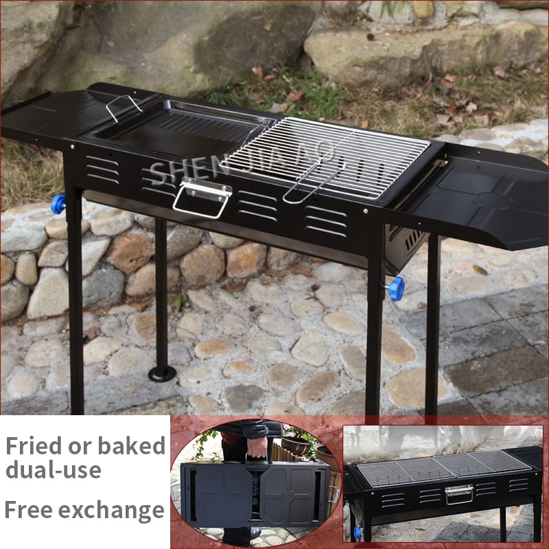 Thickened large grill / outdoor charcoal portable grill / household barbecue tools 5 or more full set