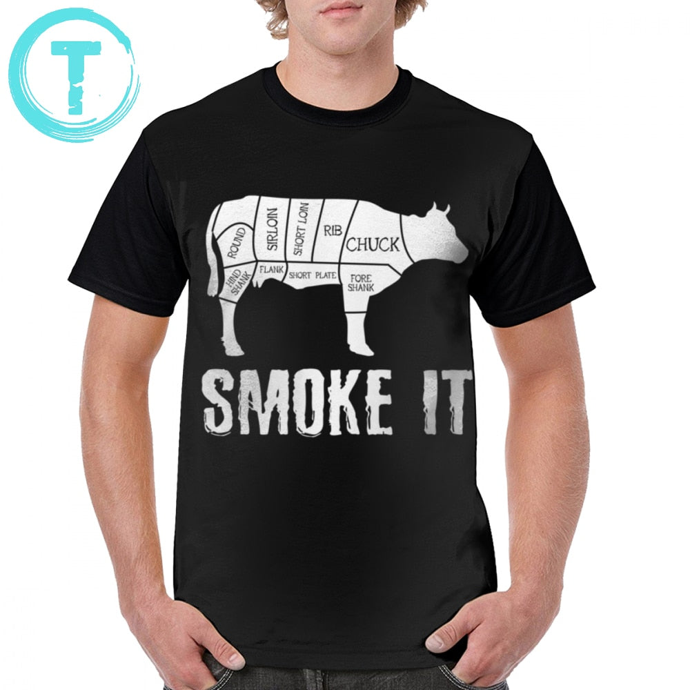 Smoking Meat T Shirt Cow Smoke BBQ Meat Summer Grill BBQ T-Shirt Print Casual Graphic Tee Shirt Short Sleeves Tshirt