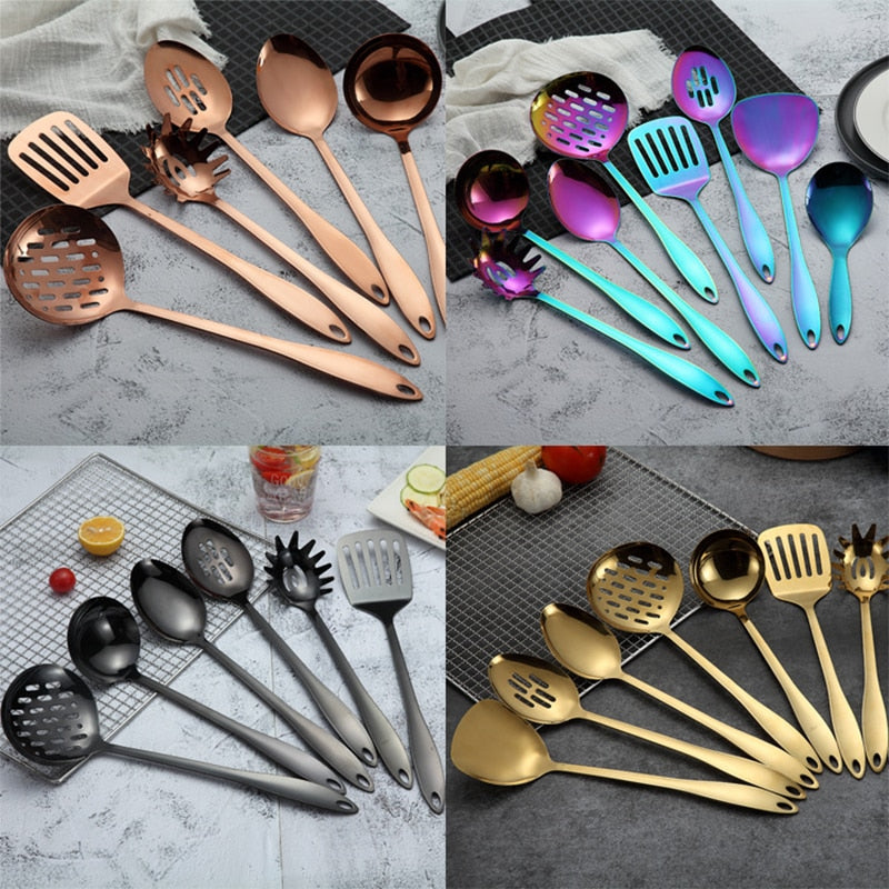 Titanium-plated Stainless Steel Kitchenware Set Cooking Shovel Spoon Kitchen Supplies Gifts Cooking Tool Utensils