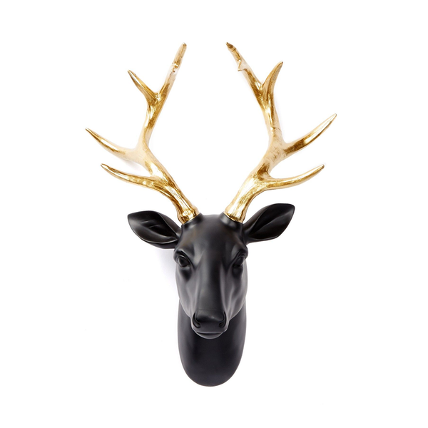 Black & Gold Deer Head