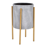 Grey Planter w/ Gold Stand