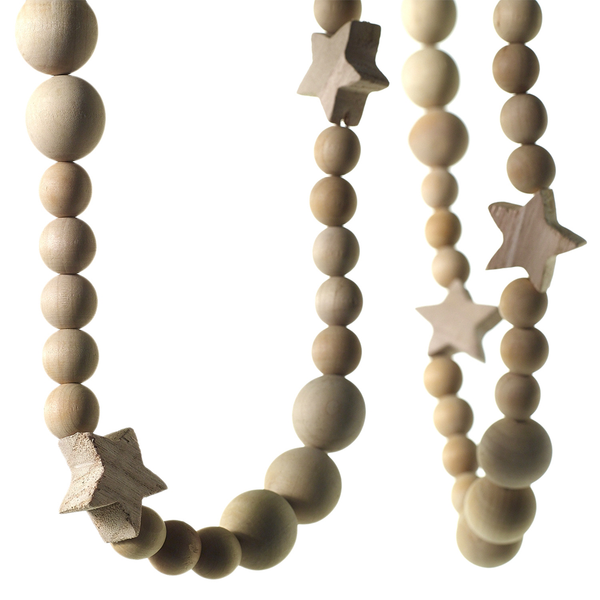 Wood Bead Garland w/ Stars
