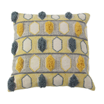 Gold & Blue Embroidered Cotton Pillow