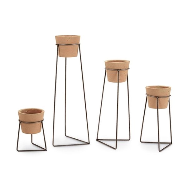Clay Pot & Wire Stand Set