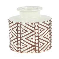 Tribal Boho Brown & White Vase