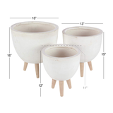 Round Fiberglass Ceramic Planter w/ Wood Feet - Cream
