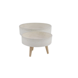 Low Fiberglass Ceramic Planter w/ Wood Feet - Cream