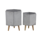 Hexagon Fiberglass Ceramic Planter w/ Wood Feet - Light Gray