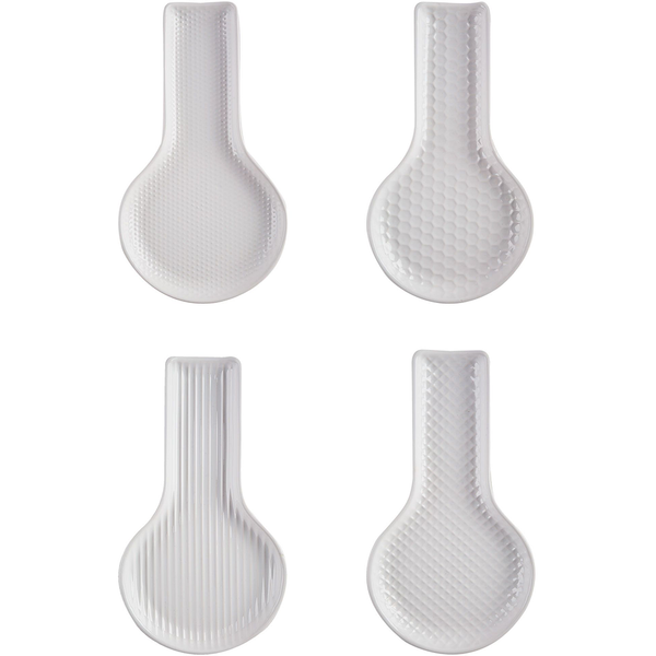 White Embossed Spoon Rest