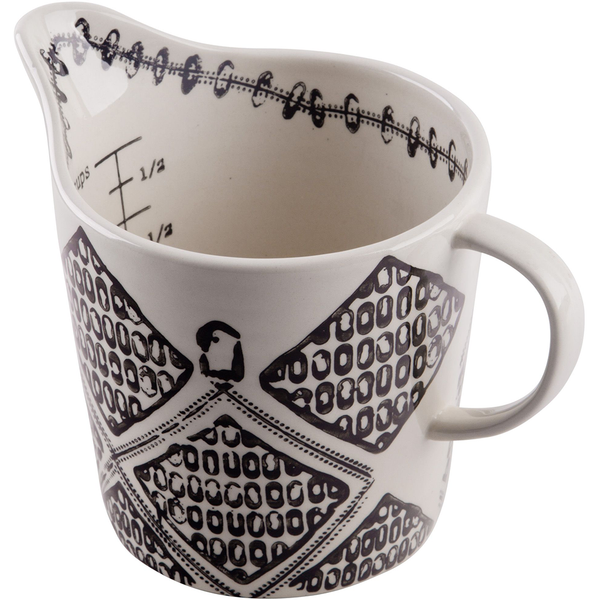 Black & White Stamped Measuring Cup