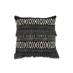 Black & Natural Fringe Pillow