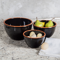 Black Terracotta Mixing Bowls Set
