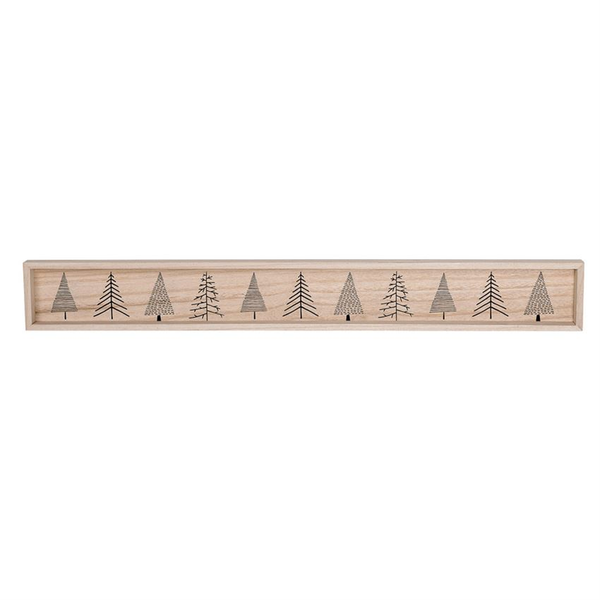 Decorative Wood Tray w/ Christmas Trees