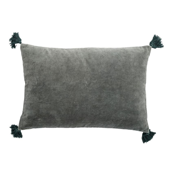 Emerald Cotton Velvet Tassel Pillow