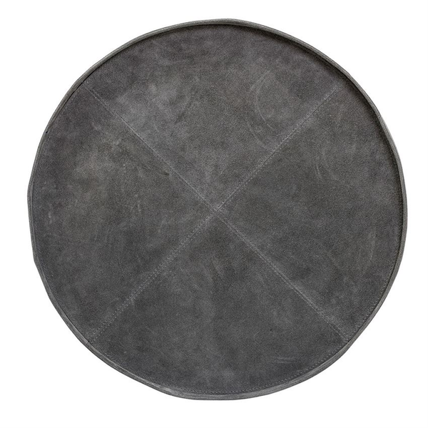 Gray Suede Round Decorative Tray
