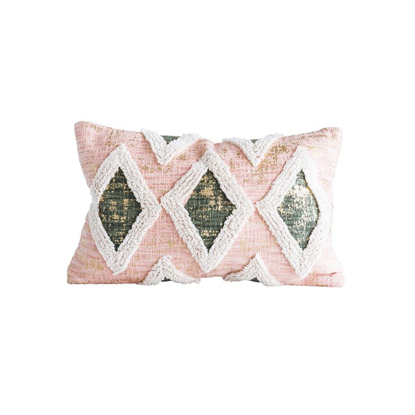 Blush Diamond Embroidered Pillow