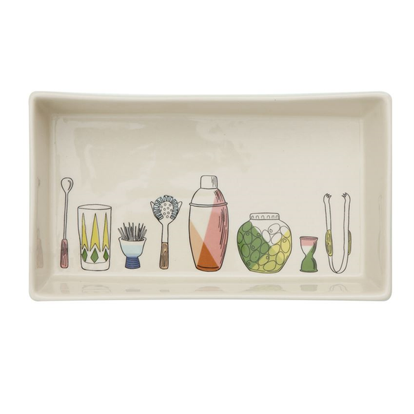 Bar Icons Stoneware Serving Dish