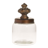 Glass Canister w/ Metal Finial Lid
