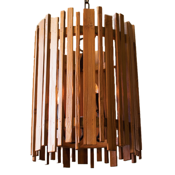 Wood Slatted Pendant Light