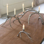 Antique Silver Metal Antler Taper Candle Holder