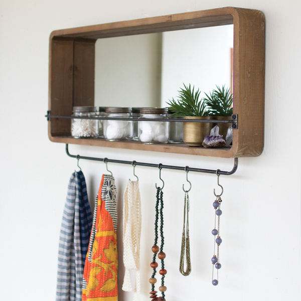 Rectangle Wooden Mirror w/ Hooks