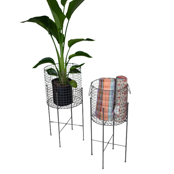 Wire Mesh Baskets on Stands Set