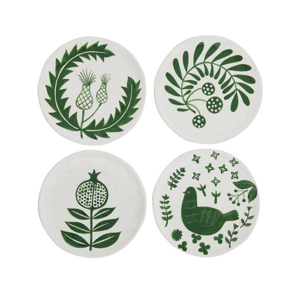 Hand-Painted Green Ceramic Plates