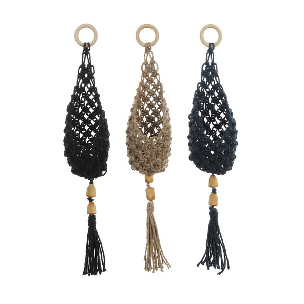 Woven Jute Wall Hanging Pocket/Planter w/ Tassel