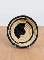 Handwoven Uganda Small Black Geo Raffia Bowl