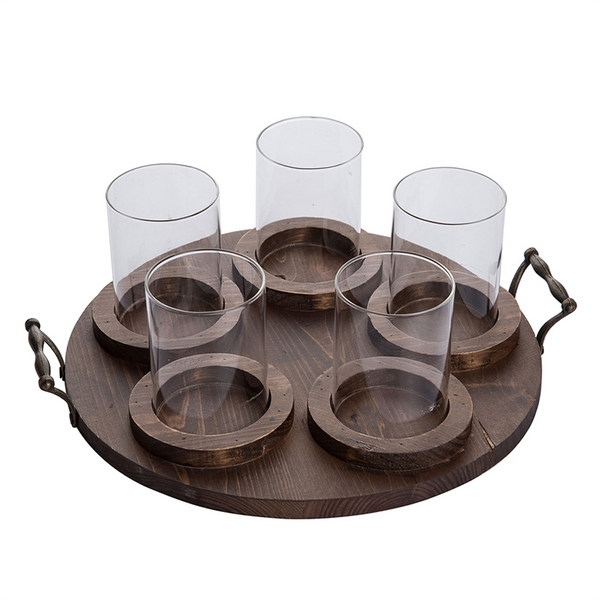 Round 5 Pillar Holder Tray w/ Glass