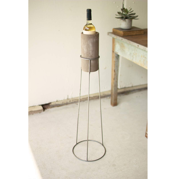 Grey Wash Clay Wine Chiller w/ Floor Stand