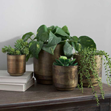 Aged Brass Finish Metal Flower Pot