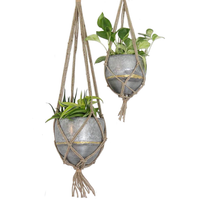 Hanging Galvanized Planter w/ Woven Jute Rope